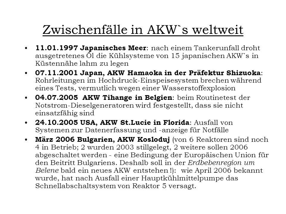 Zwischenfälle in AKW`s weltweit