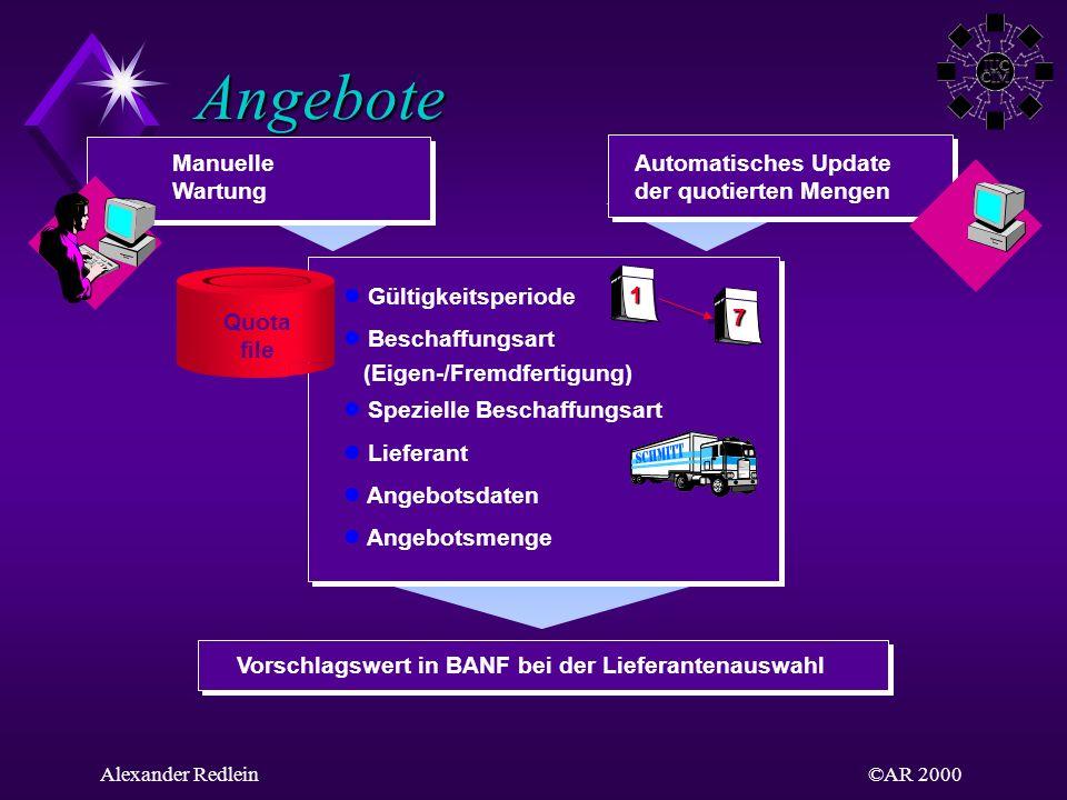 Angebote Manuelle Wartung Automatisches Update der quotierten Mengen
