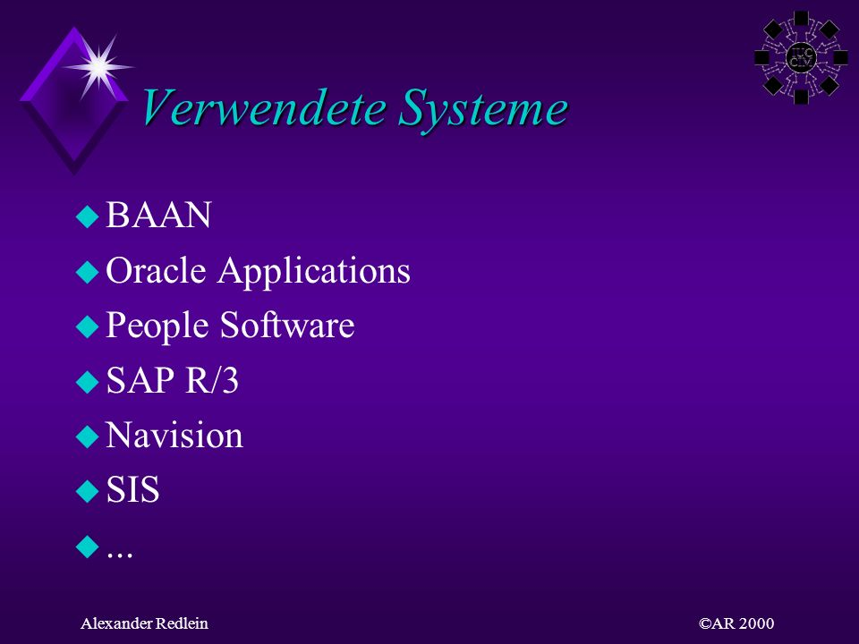 Verwendete Systeme BAAN Oracle Applications People Software SAP R/3