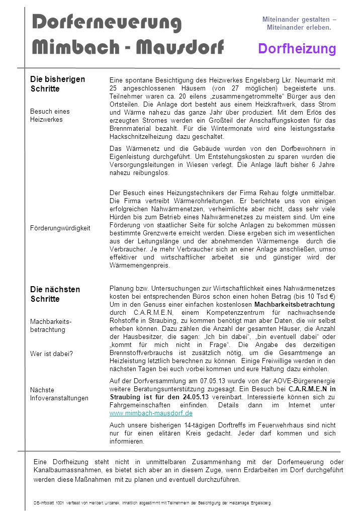 Dorferneuerung Mimbach - Mausdorf