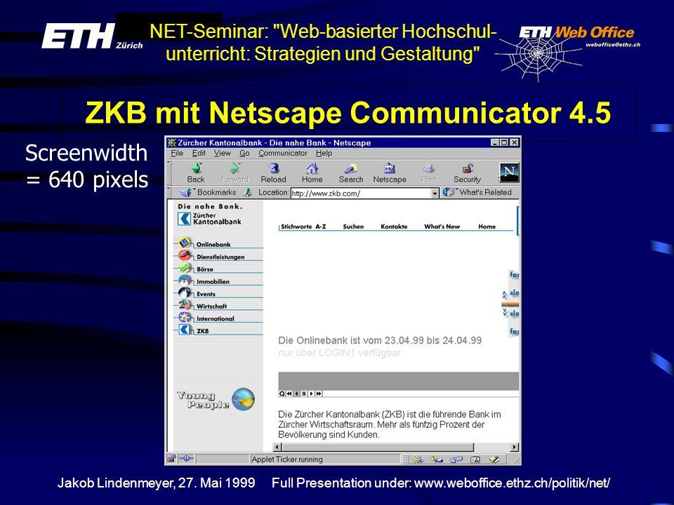 ZKB mit Netscape Communicator 4.5