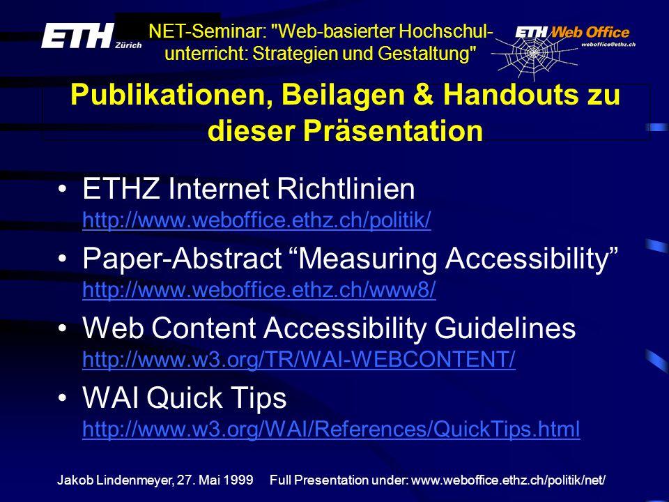 Publikationen, Beilagen & Handouts zu dieser Präsentation