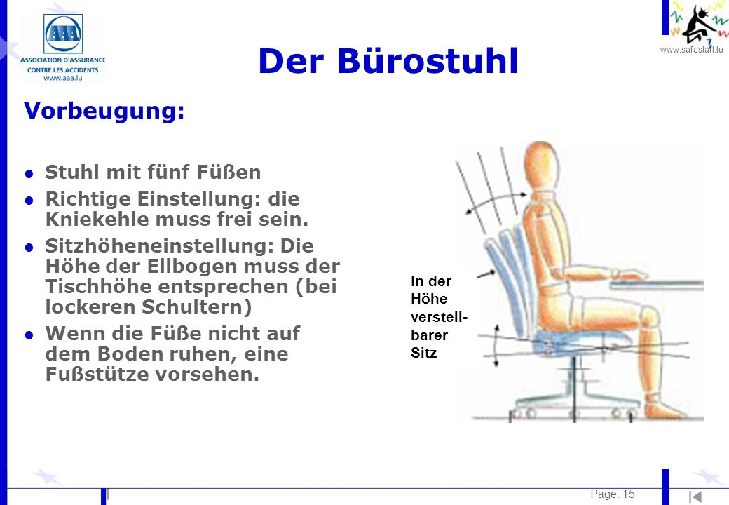 Der Bürostuhl Vorbeugung: Stuhl mit fünf Füßen