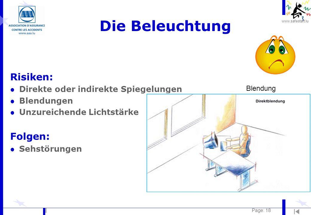 Die Beleuchtung Risiken: Folgen: Direkte oder indirekte Spiegelungen