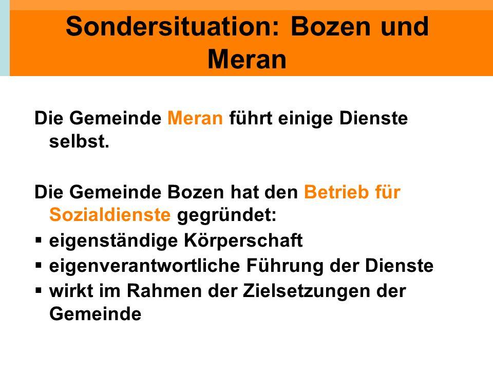 Sondersituation: Bozen und Meran