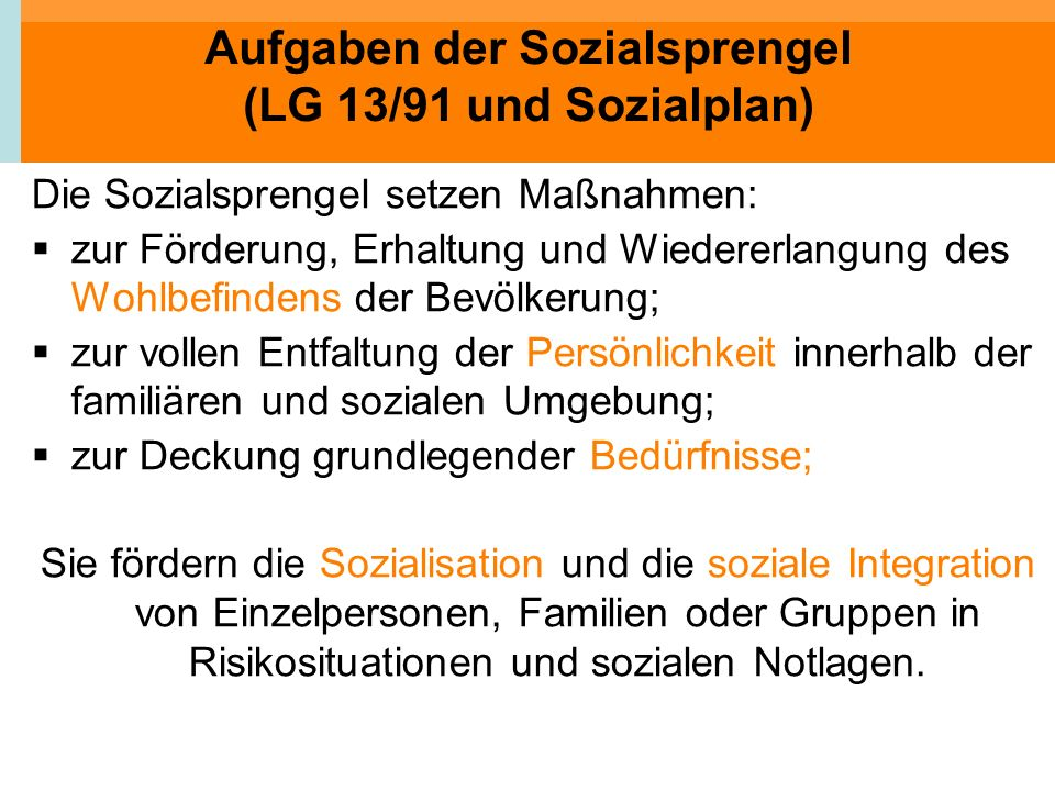 Aufgaben der Sozialsprengel (LG 13/91 und Sozialplan)