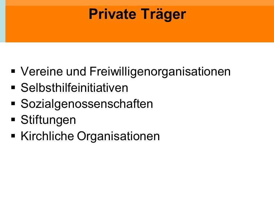 Private Träger Vereine und Freiwilligenorganisationen