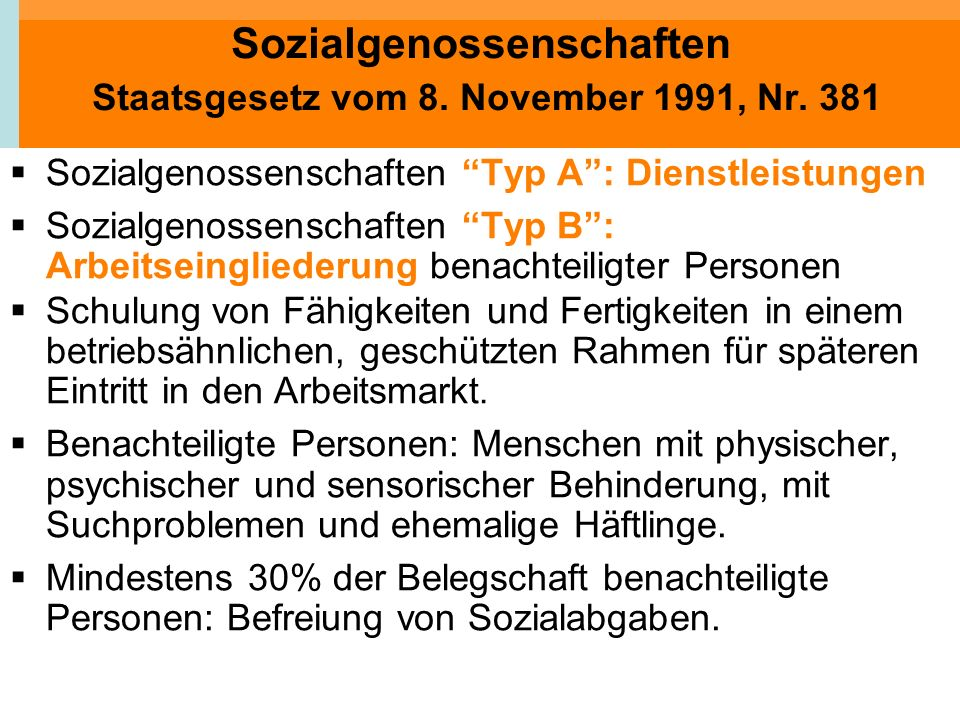 Sozialgenossenschaften Staatsgesetz vom 8. November 1991, Nr. 381