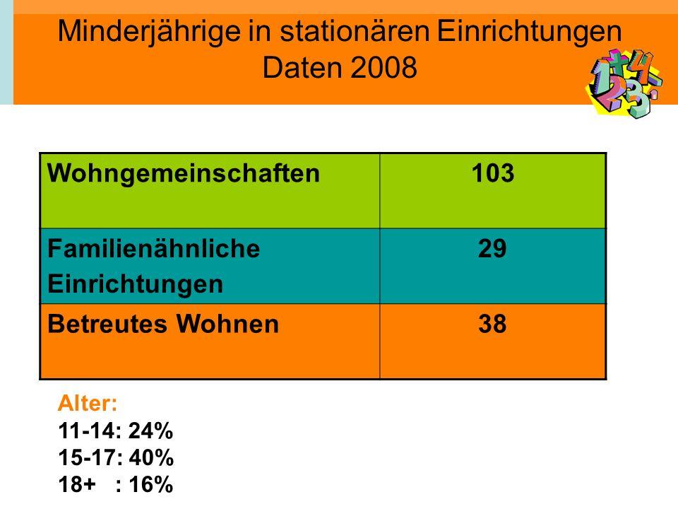 Minderjährige in stationären Einrichtungen Daten 2008