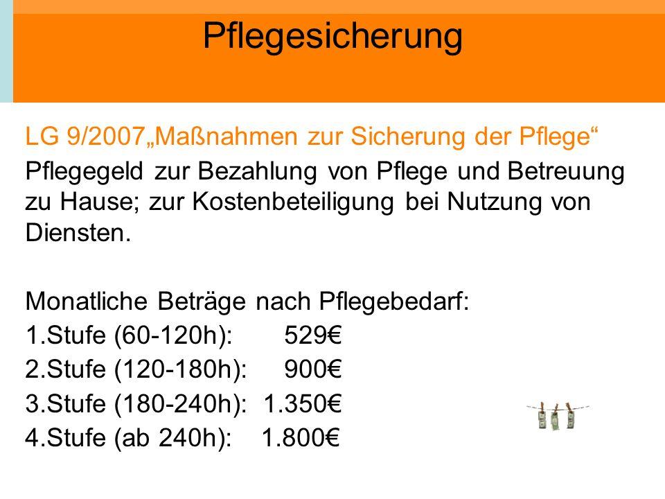 """Pflegesicherung LG 9/2007""""Maßnahmen zur Sicherung der Pflege"""