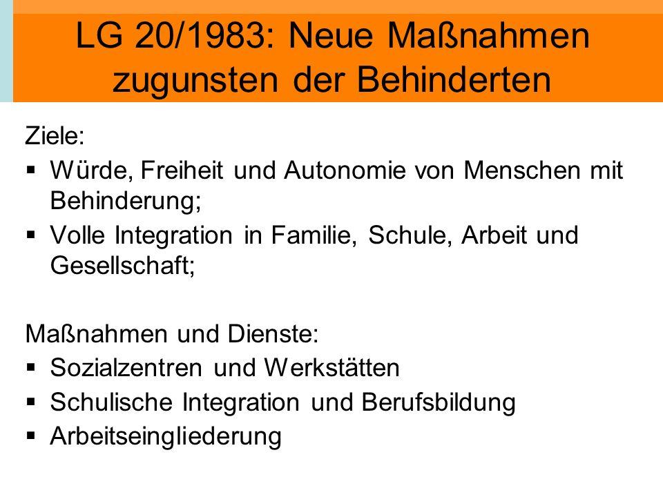 LG 20/1983: Neue Maßnahmen zugunsten der Behinderten