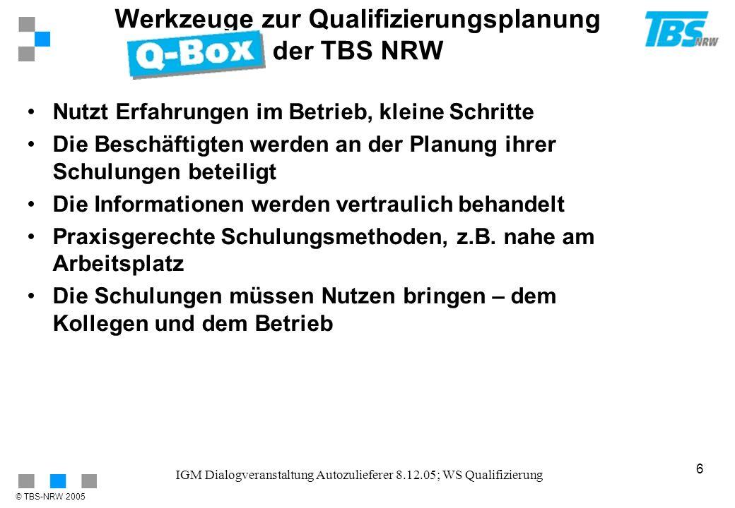 Werkzeuge zur Qualifizierungsplanung der TBS NRW
