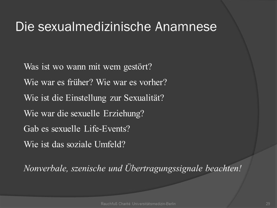 Die sexualmedizinische Anamnese