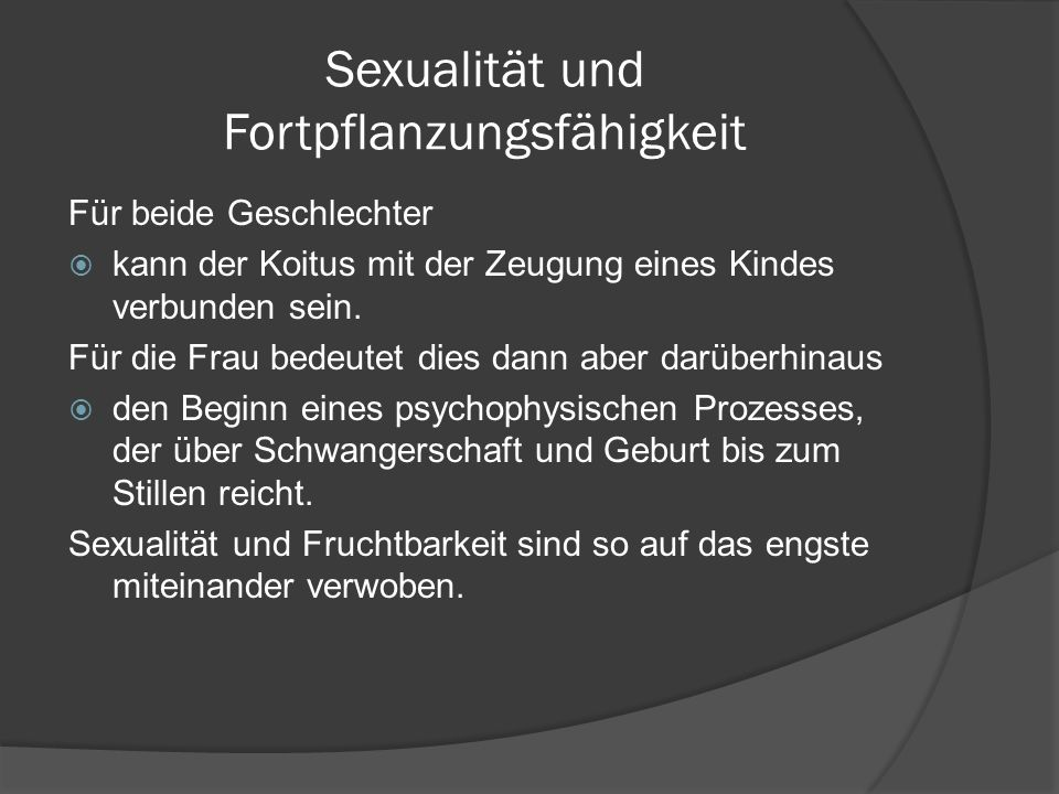 Sexualität und Fortpflanzungsfähigkeit