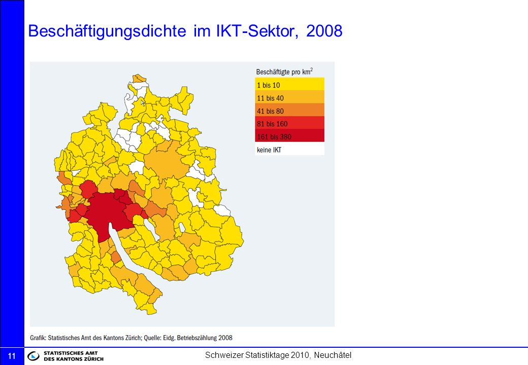 Beschäftigungsdichte im IKT-Sektor, 2008