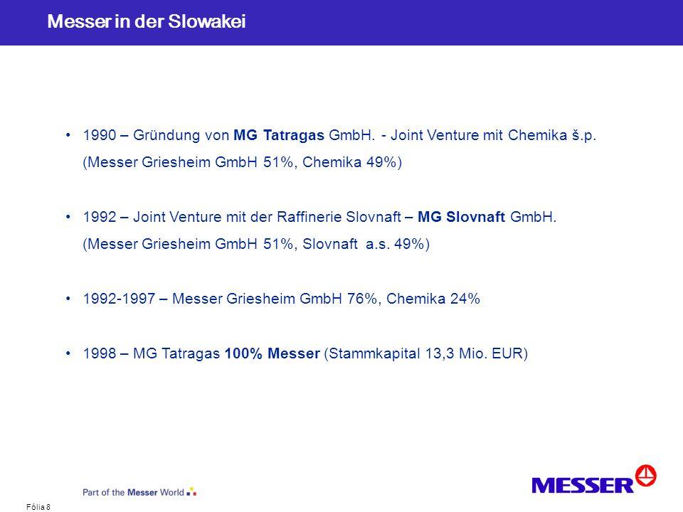 Messer in der Slowakei 1990 – Gründung von MG Tatragas GmbH. - Joint Venture mit Chemika š.p. (Messer Griesheim GmbH 51%, Chemika 49%)