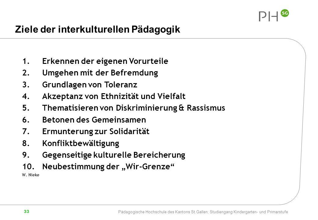Ziele der interkulturellen Pädagogik