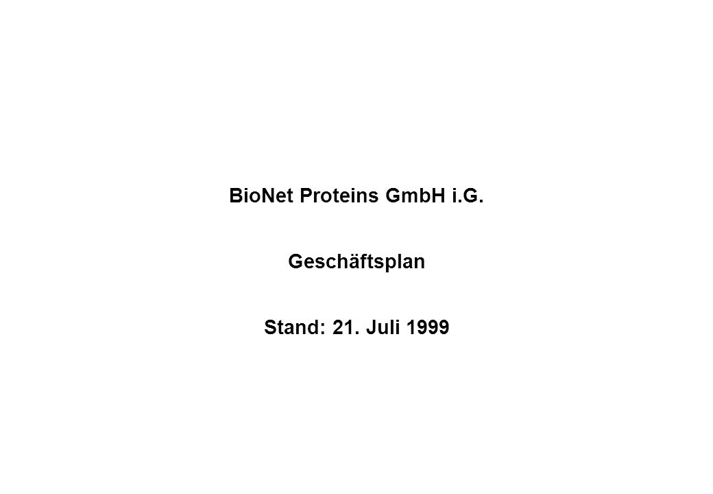 BioNet Proteins GmbH i.G.