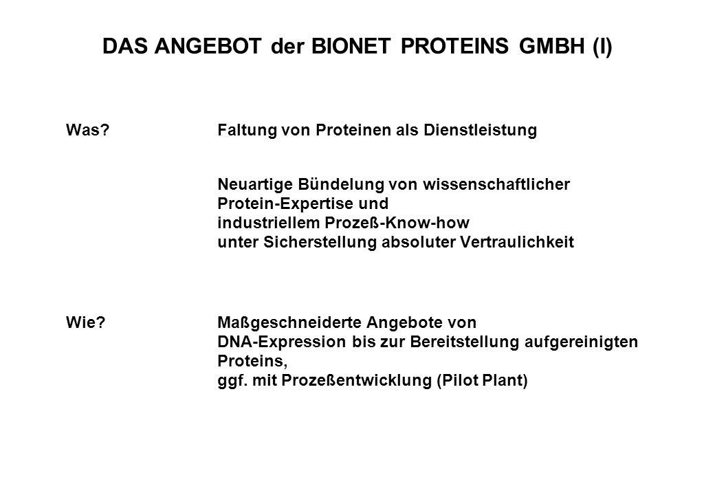 DAS ANGEBOT der BIONET PROTEINS GMBH (I)