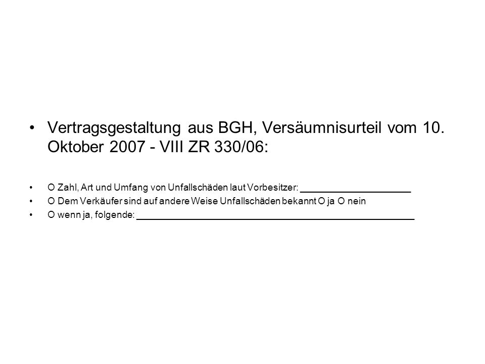 Vertragsgestaltung aus BGH, Versäumnisurteil vom 10