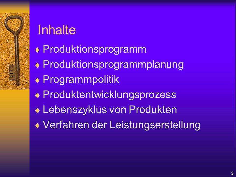 Inhalte Produktionsprogramm Produktionsprogrammplanung Programmpolitik