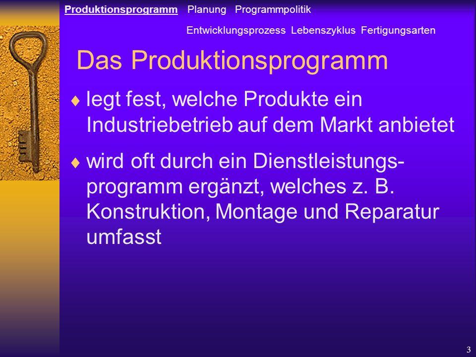 Das Produktionsprogramm