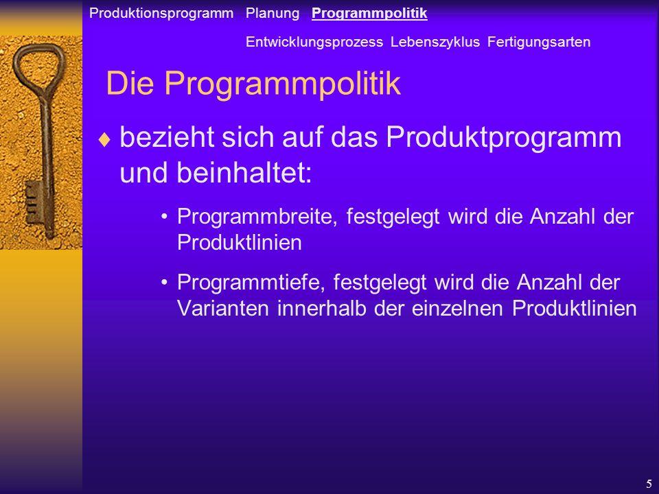 Produktionsprogramm Planung Programmpolitik
