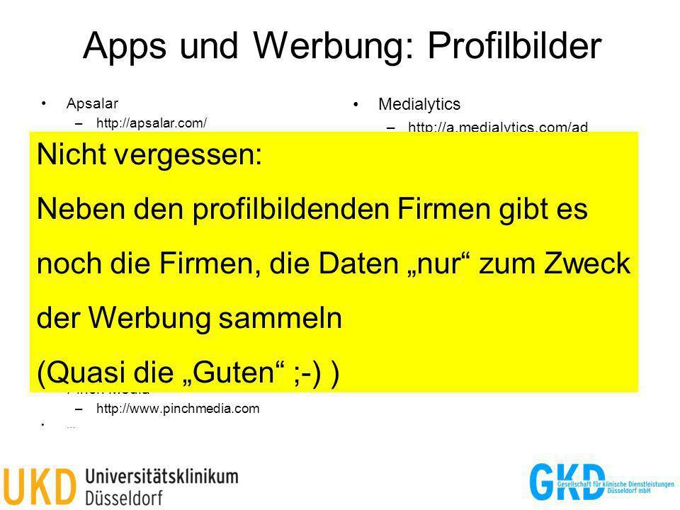Apps und Werbung: Profilbilder
