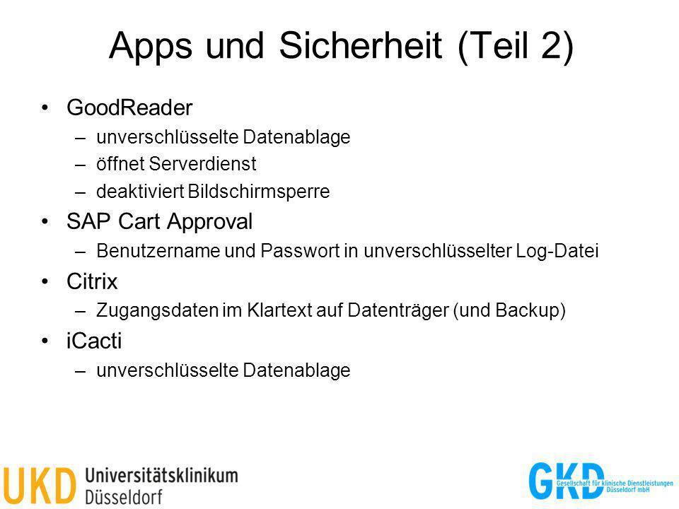 Apps und Sicherheit (Teil 2)