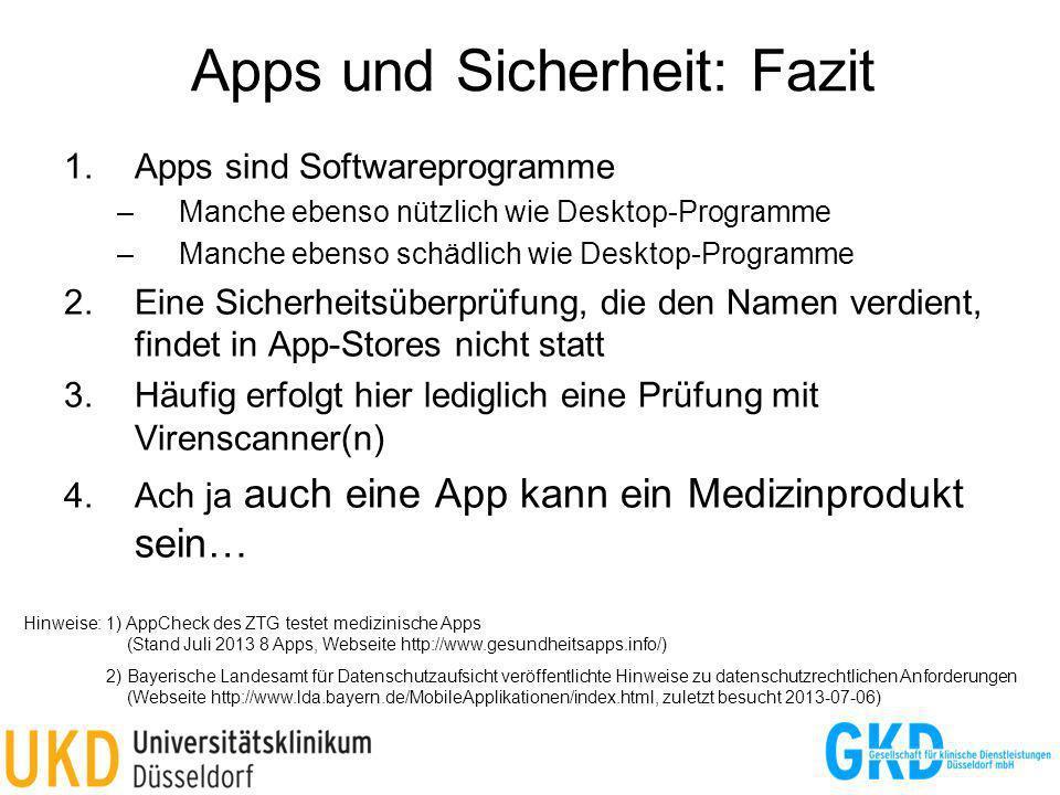 Apps und Sicherheit: Fazit