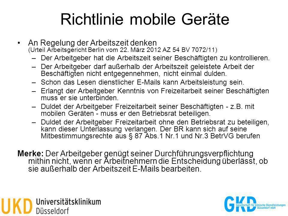 Richtlinie mobile Geräte