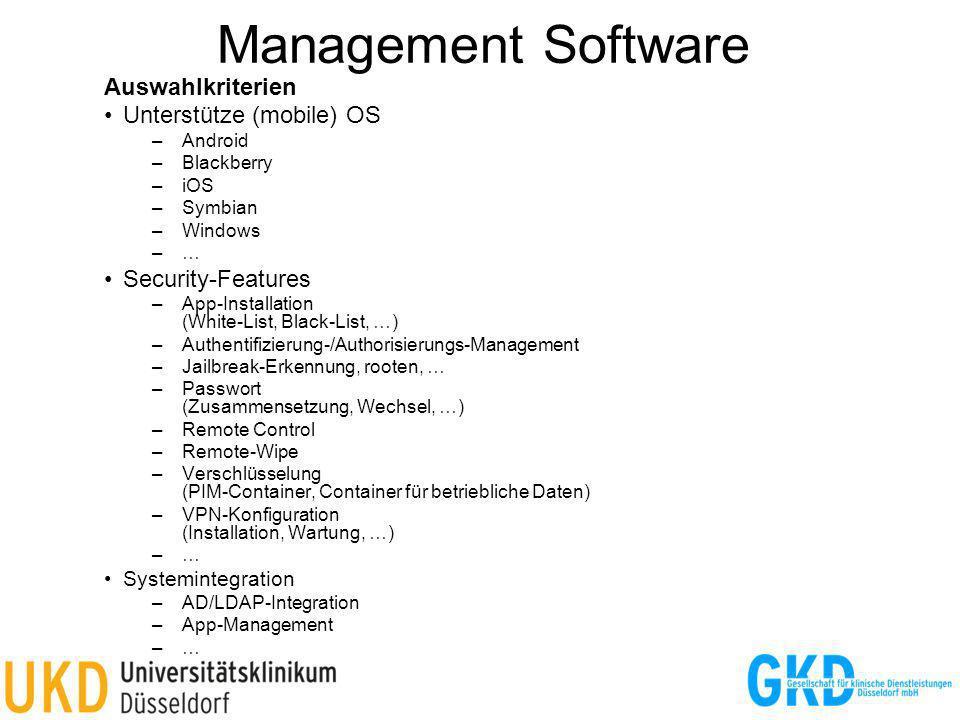 Management Software Auswahlkriterien Unterstütze (mobile) OS