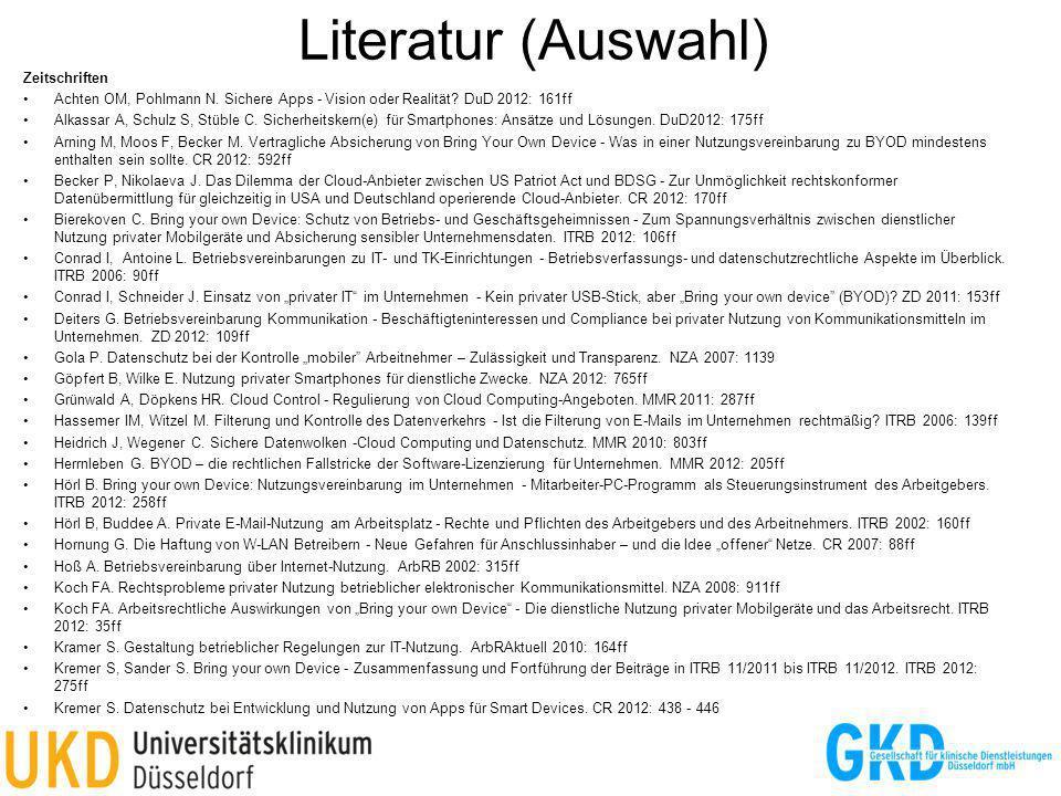 Literatur (Auswahl) 39 Zeitschriften