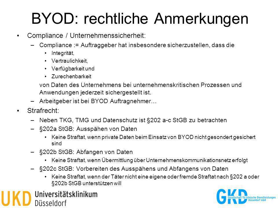 BYOD: rechtliche Anmerkungen
