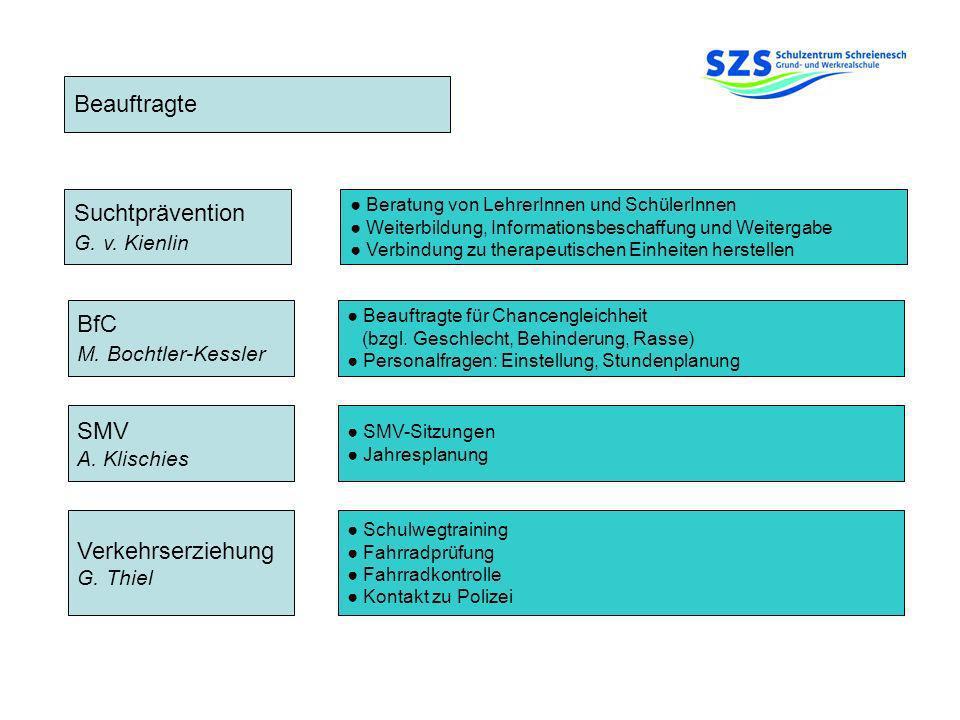 Beauftragte Suchtprävention BfC SMV Verkehrserziehung G. v. Kienlin