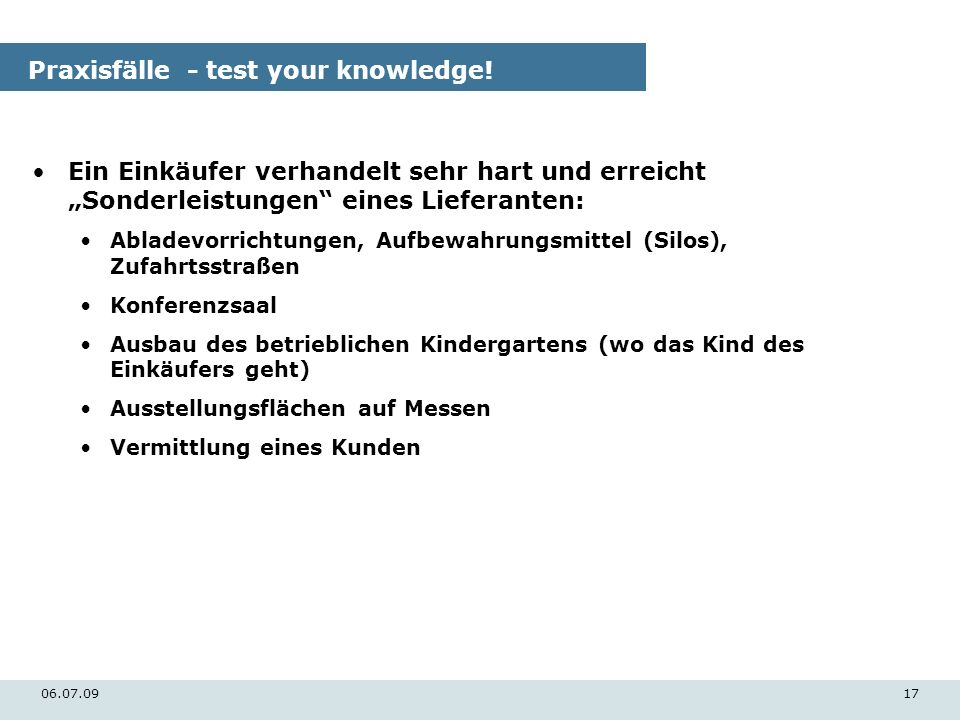 Praxisfälle - test your knowledge!