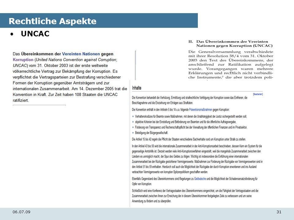Rechtliche Aspekte UNCAC 06.07.09