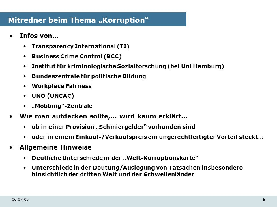"Mitredner beim Thema ""Korruption"