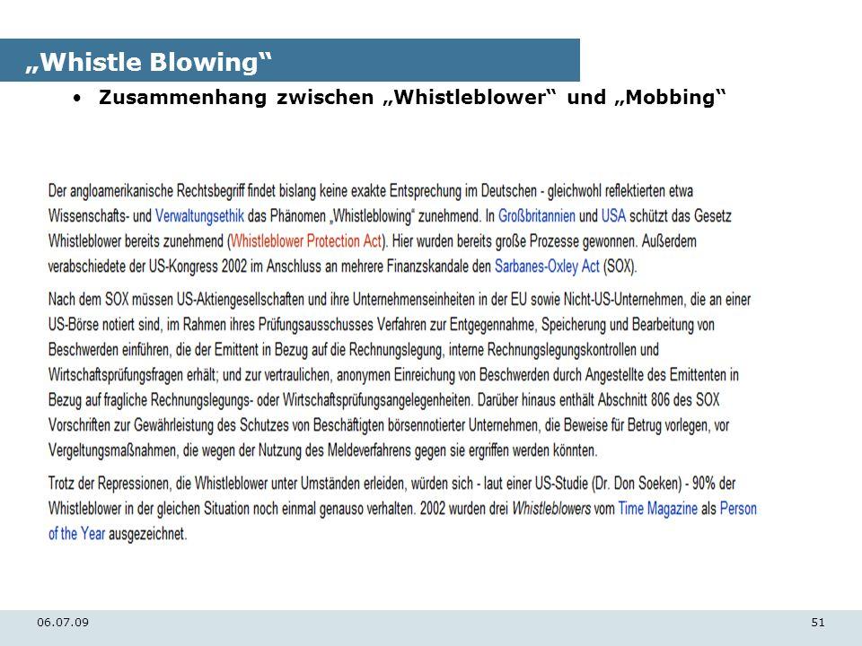 """""""Whistle Blowing Zusammenhang zwischen """"Whistleblower und """"Mobbing"""