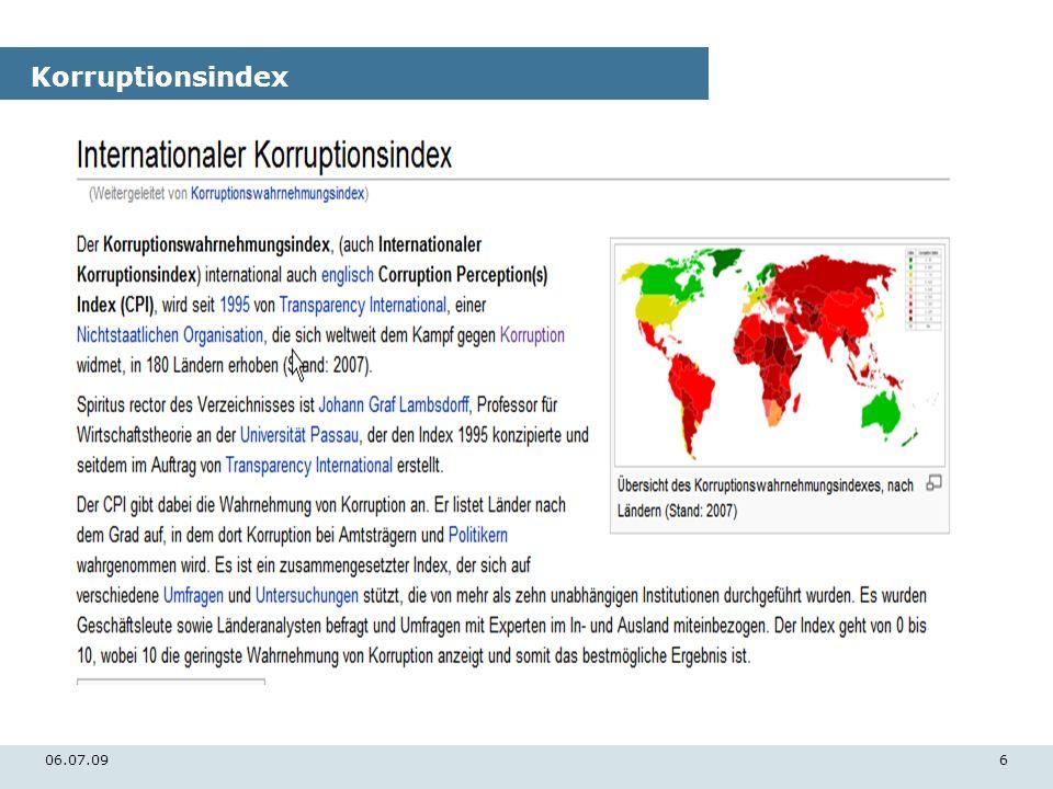 Korruptionsindex 06.07.09