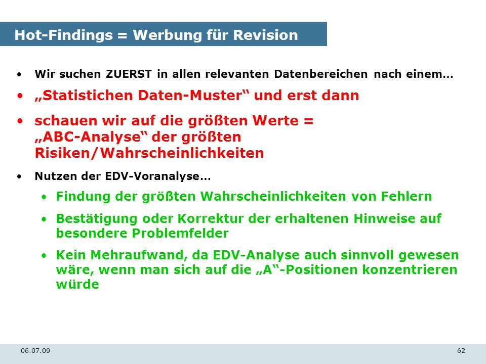 Hot-Findings = Werbung für Revision