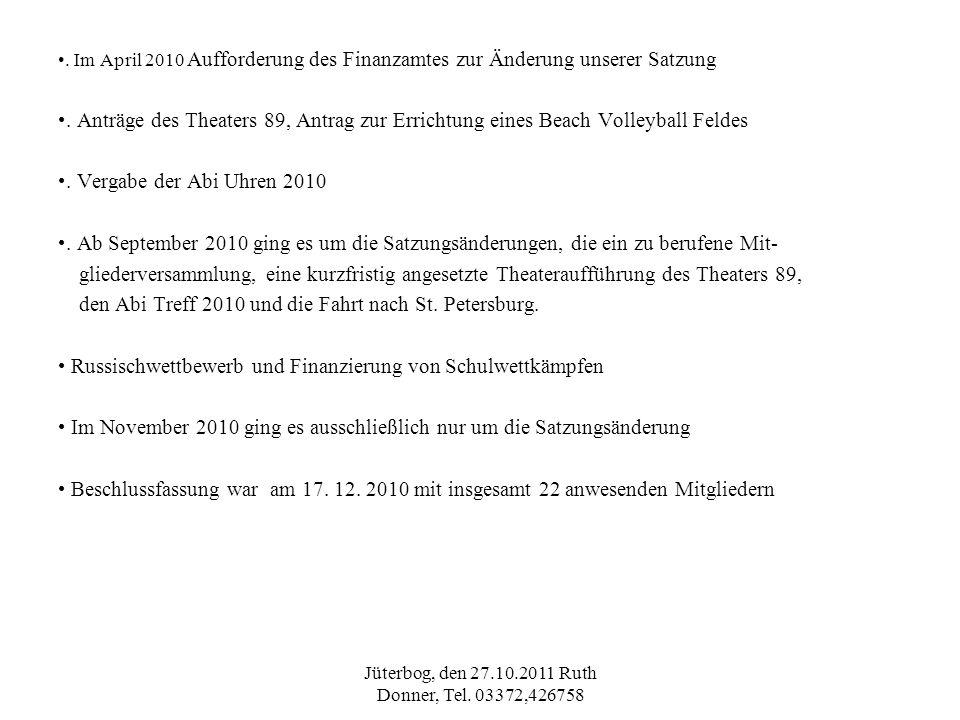 Jüterbog, den 27.10.2011 Ruth Donner, Tel. 03372,426758