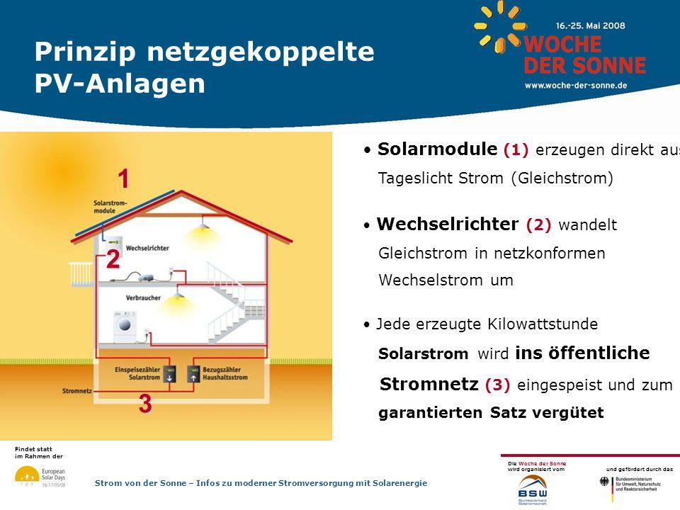 Prinzip netzgekoppelte PV-Anlagen
