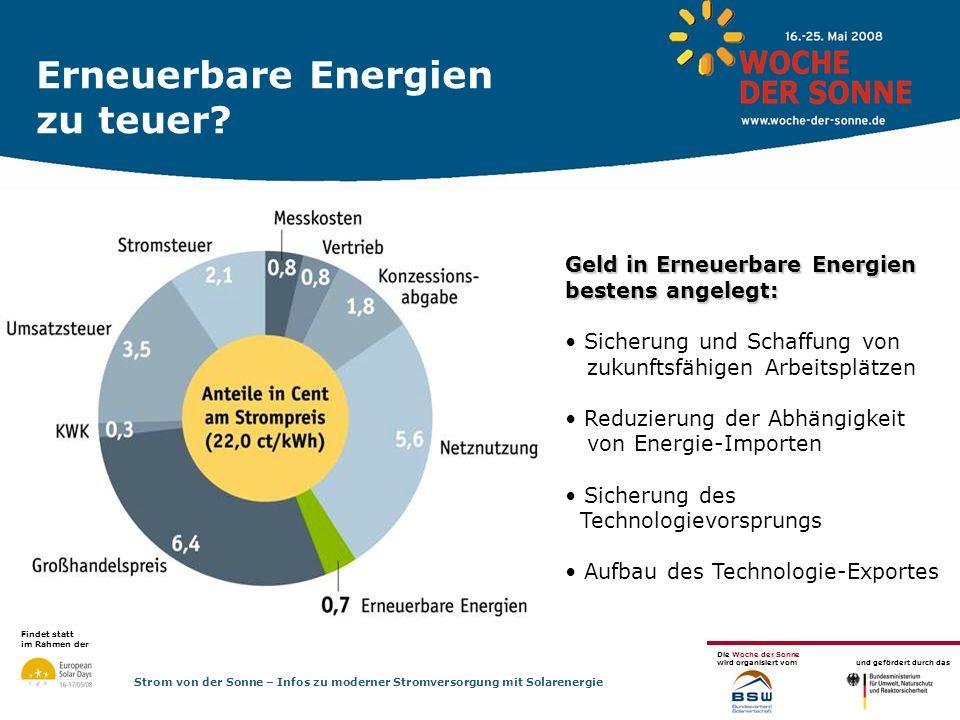 Erneuerbare Energien zu teuer