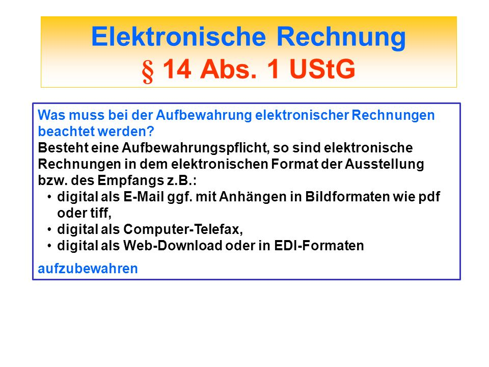 Elektronische Rechnung § 14 Abs. 1 UStG