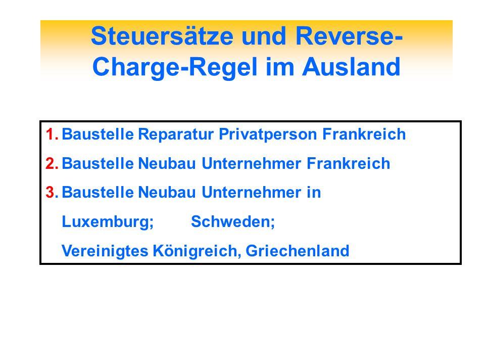 Steuersätze und Reverse-Charge-Regel im Ausland