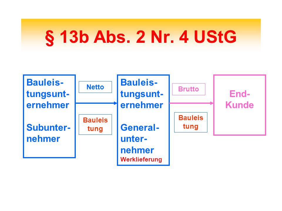§ 13b Abs. 2 Nr. 4 UStG Bauleis-tungsunt-ernehmer Subunter-nehmer