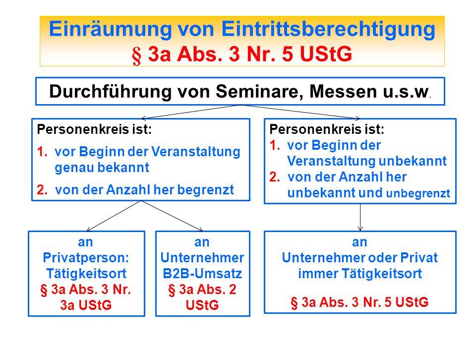 Einräumung von Eintrittsberechtigung § 3a Abs. 3 Nr. 5 UStG