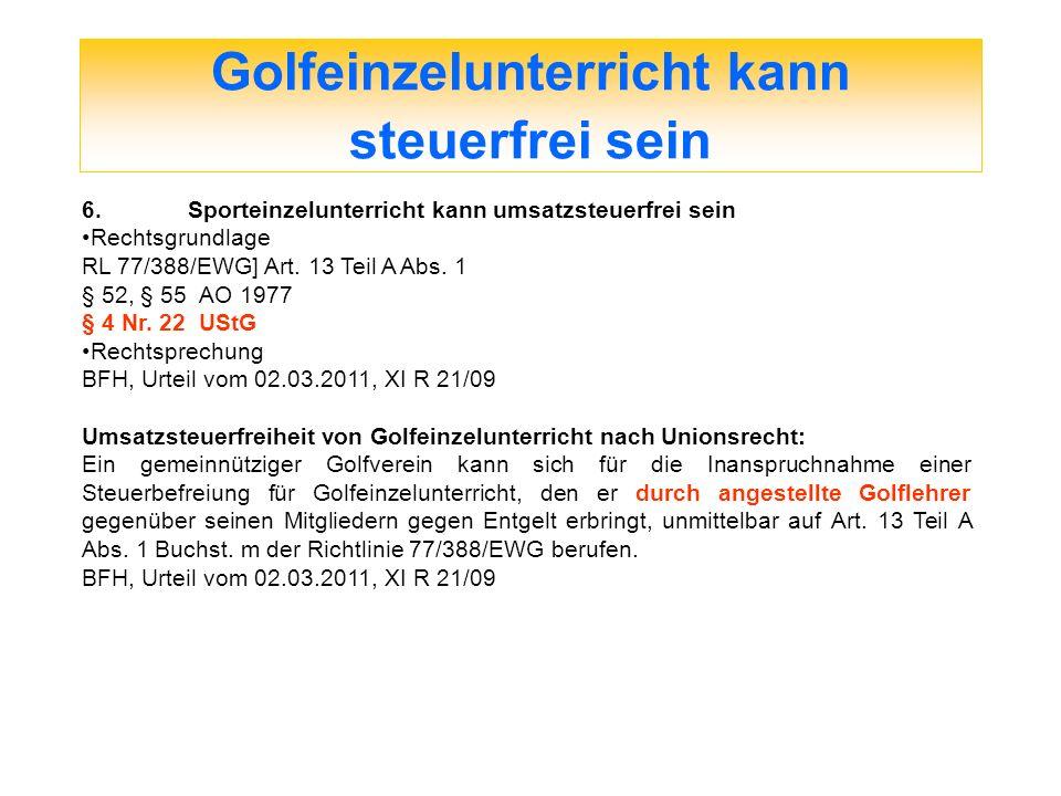Golfeinzelunterricht kann steuerfrei sein