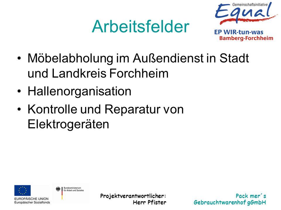 Arbeitsfelder Möbelabholung im Außendienst in Stadt und Landkreis Forchheim. Hallenorganisation. Kontrolle und Reparatur von Elektrogeräten.